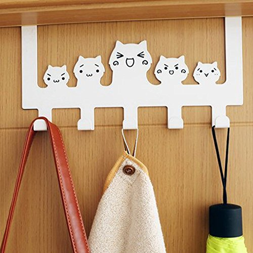 Zonman Cartoon Wall Mounted Bag Hanger Towels Rack Door Hanging Clothes Rack Free Nail Hanger Coat Rack Clothing Hooks Cute White Cat Hook