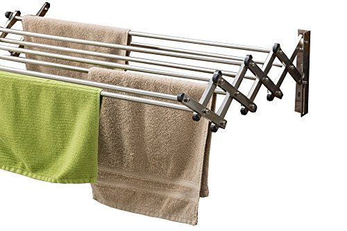 AERO W Space Saver Racks Stainless Steel Wall Mounted Collapsible Laundry Folding Clothes Drying Rack 60 Pound Capacity 225 Linear Ft Clothesline