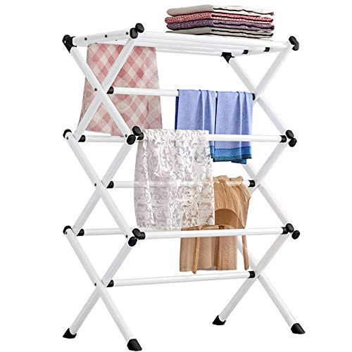 FKUO Household Indoor Folding Clothes Drying Rack Dry Laundry and Hang ClothesTowel Rack White