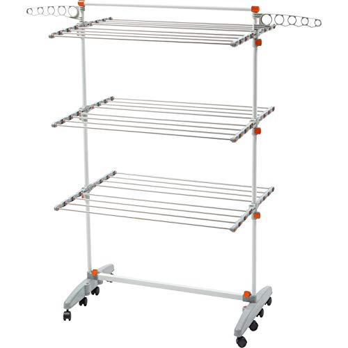 Folding Clothes Drying Rack with Wheels Extra High Capacity Laundry Drying Rack For Indoor Outdoor Hanging Rod Adjustable Hight Foldable Collapsible Drayer Rack Heavy Duty Stainless Steel Meatal ABS