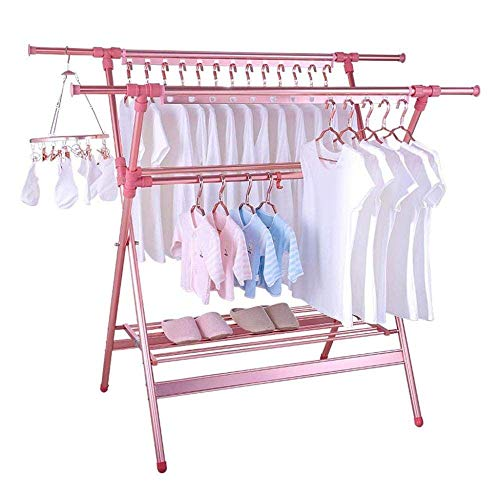 WZKSDP Drying Rack - Aluminum Alloy Laundry Drying Rack Heavy Duty Collapsible Folding Clothes Drying Rack Rose Gold