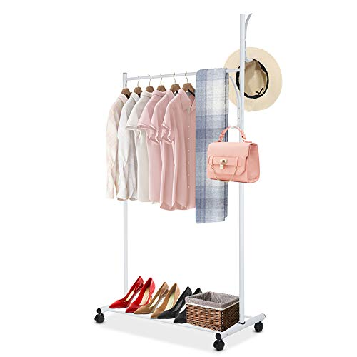 Liusin Portable Closet Heavy Duty Garment Racks On Wheels Iron Frame Clothing Rolling Rack Hanging Organizer with Bottom Shelf and Coat Hanger for Home Entryway Bedroom Balcony White