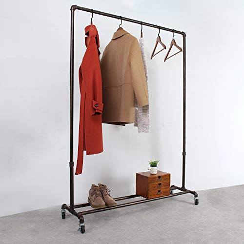 MBQQ Industrial Pipe Clothing Racks on WheelsHeavy Duty Garment Racks Commercial GradeVintage Rolling Ballet Rack Clothes Display Rack Retail DisplayRetro Red