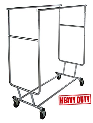 Only Garment Racks Commercial Grade Double Rail Rolling Clothing Rack Heavy Duty - Designed with Solid One Piece Top Rails and Base Heavy Gauge Steel Construction Rack Weighs 39 Lbs