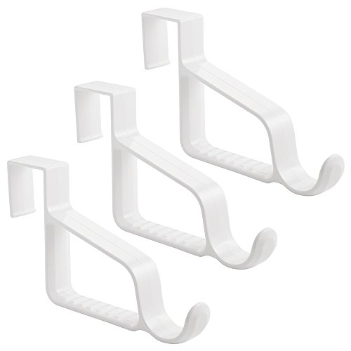 InterDesign Over Door Valet Hook for Clothes Hangers Storage for Coats Hats Robes Clothes or Towels - Single Hook White Pack of 3