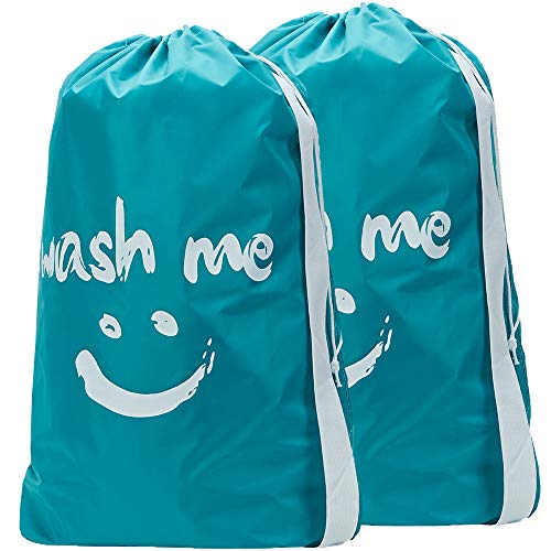 HOMEST 2 Pack Travel Laundry Bag with Strap 28 x 40 Inches Wash Me Drawstring Dirty Clothes Bag Large Hamper Liner Rip-Stop Nylon Machine Washable Sky Blue¡