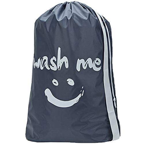 HOMEST Wash Me Travel Laundry Bag 28 x 40 Inches Travel Dirty Clothes Shoulder Bag with Drawstring Large Hamper Liner Rip-Stop Nylon Machine Washable Grey Patent Pending