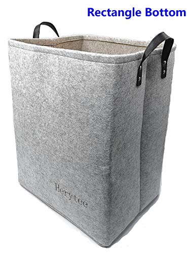 Laundry Basket Clothes Hamper Foldable Large Hampers for Laundry 20 Tall Collapsible Well-Holding Felt Storage Baskets with PU Leather Handles Light Grey