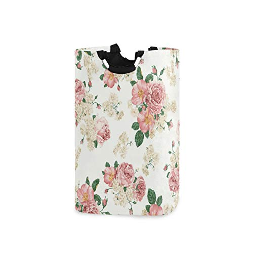 Nander Laundry Basket Floral Peony Flower Large Hamper Foldable Bag for Dirty Clothes Organizer Laundry Bag Picnic Baskets Print Toy Gift Organizer