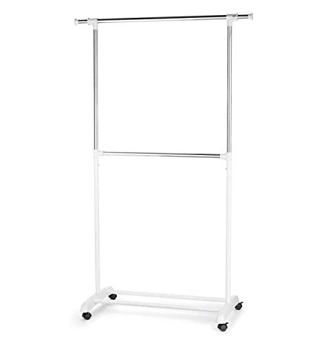 TYPE A Portable Clothes Rack  Freestanding Garment Rack with Rails for Extra Storage No Tool Assembly  Perfect for Your Bedroom Office or Home  2 Hanging Rods White Silver