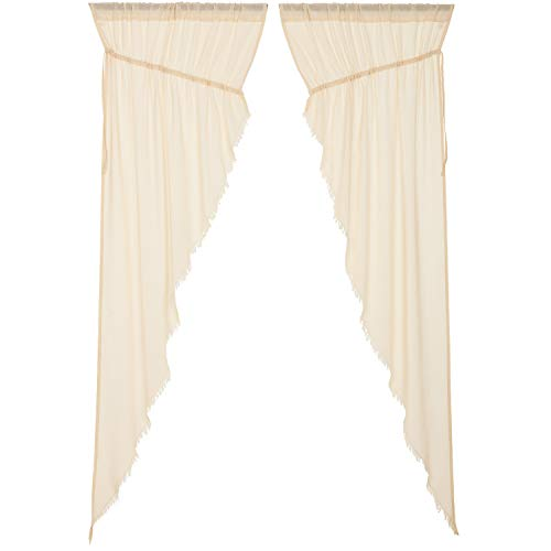 VHC Brands Farmhouse Curtains Tobacco Cloth Rod Pocket Cotton Drawstring Ties Sheer Solid Color Prairie Panel Pair Natural Creme White