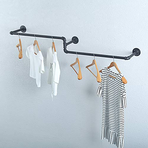 Womio Industrial Pipe Clothing Rack Wall Mounted Vintage Laundry Room RodsMetal Wall Clothes Rods Display RacksCommercial Clothes Decor Hanging RackGarment RackBar59