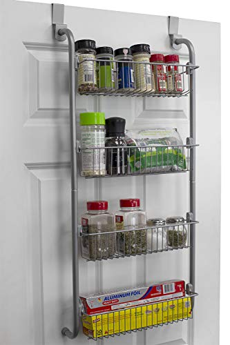Home Basics BH45975 Heavy Duty 4 Tier Over The Door Storage Shelf Hanging Cabinet Metal Pantry Rack Organizer Spice Space Grey Gray
