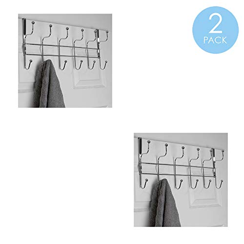 Home Basics Shelby 6 Hook Over The Door Hanging Rack for Bathroom Bedroom or Closet Hanging Coat Robes Hats Bags Towel Sturdy Heavy-Duty Clothes Organizer Storage Chrome 2