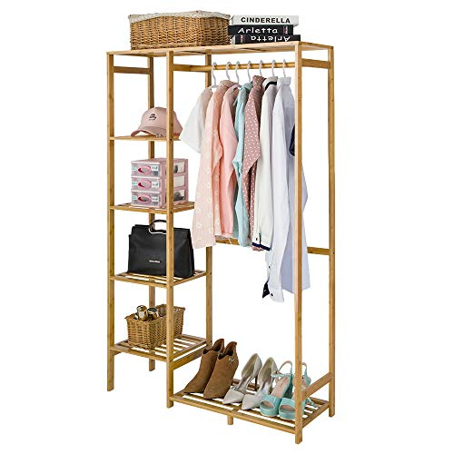 Bamboo Wood Clothing Garment Rack with Shelves Clothes Drying Hanging Rack Plant Stand for Long Jacket Trousers Shoe and Coat Storage in Home Laundry Room Commercial Corner Heavy Duty