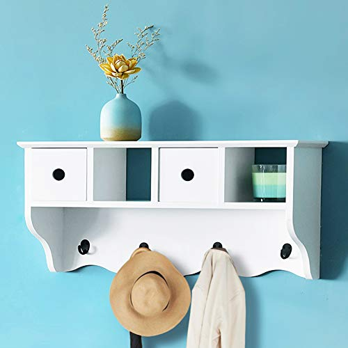 WELLAND Haley Storage Wall Shelf with Hooks Hanging Entryway Wall Mounted Coat Rack Storage Cabinets