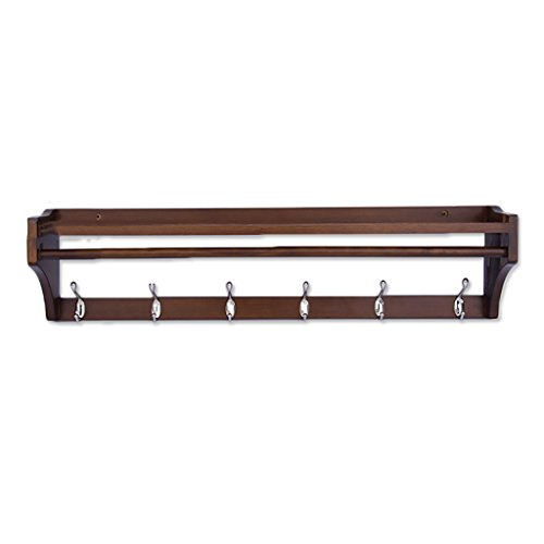 LXLA- In-door Coat Rack Coat Rack Wall Hanging Solid Wood Hangers Wall Hanging Shelf Multifunction Bedroom Size  6 hooks