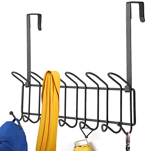 Minggoo Coat Rack Wall Mounted Hook Rack Over The Door Hook Organizer 13 Hooks Heavy-Duty Iron Wire Black