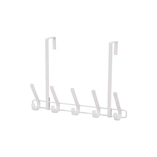 Teerwere Door Hook Door Rack Hook Rack for Hanging Coat Towel Bathrobe Belt Hat-5 Hook Storage Racks for Coat Color  White Size  One Size