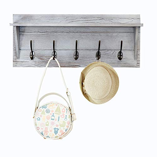 Rustic Coat Rack Wall Mounted with 5 Coat Hooks White Wall Mounted Coat Rack Entryway Organizer Hat Rack or Towel Hooks Rustic Wood Coat Hanger with Rustic Hooks and Rustic Shelf