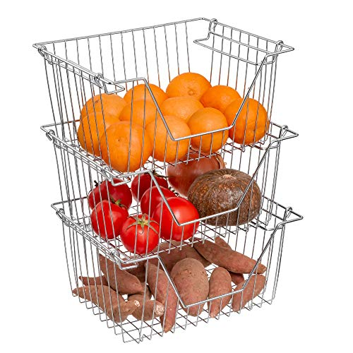 Homics Stackable Wire Baskets Steel Metal Wire Storage Baskets Organizer Bins with Handles for Household Kitchen Cabinets Closets Pantry and Shelf - 3 Pack