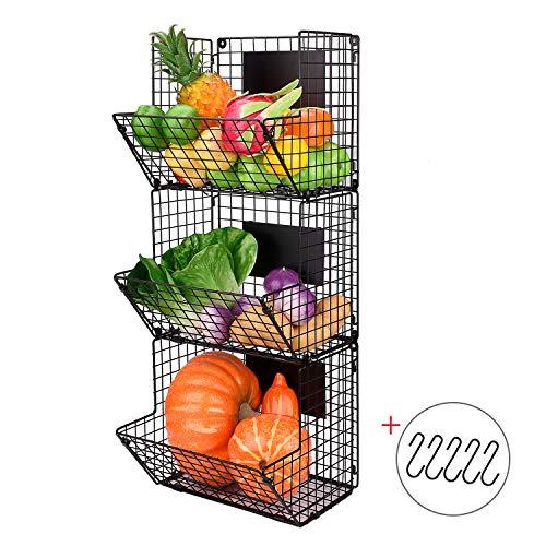 X-cosrack Metal Wire Basket Wall Mount 3 Tier Wall Storage Basket Organizer with Hanging Hooks Chalkboards Rustic Kitchen Fruit Produce Bin Rack Bathroom Tower Baskets Black