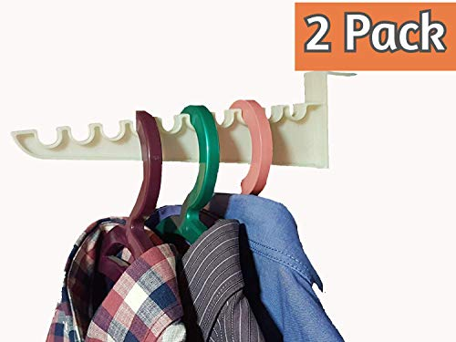 Andalus 9-inch Over The Door Hook Organizer Rack Holds 10 Hangers Durable Construction Space Saving Design Easy to Install 2 Pack
