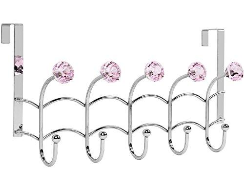 Galashield Over The Door Hook Pink Acrylic Hooks and Stainless Steel Organizer Door Hanger Towel Rack 10 Hooks