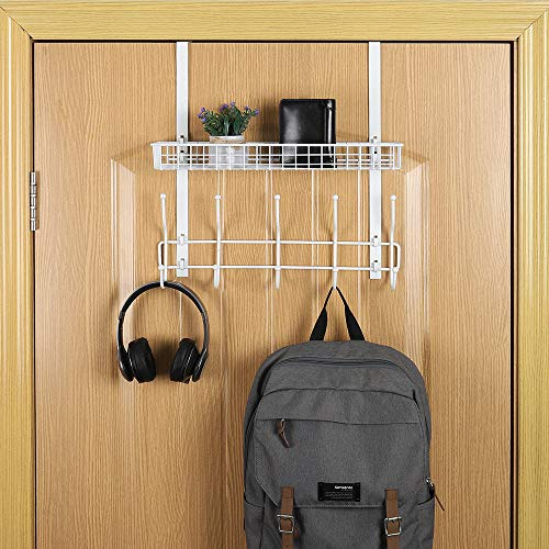 Hanging Coat Rack Over The Door Hook Organizer Rack with Basket Storage Shelf for Towels Hats Handbags Coats White