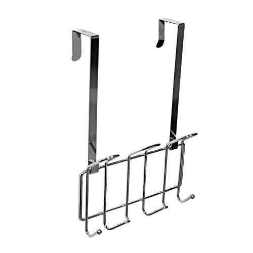 Minggoo Coat Rack Wall Mounted Hook Rack Over The Door Hook Organizer 7 Hooks Heavy-Duty Chrome