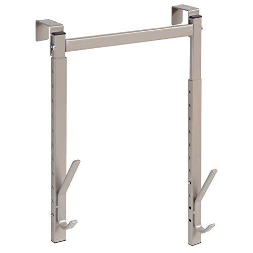 Richards Homewares Over The Door Hanger 2 Organizer Rack Adjustable Height Hooks for Coat Hat Scarf Bag Accessory-Nickel
