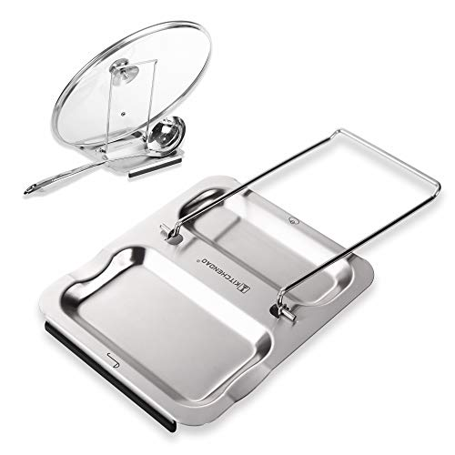 Lid and Spoon Rest - Foldable for Easy Storage Anti-slip base丨Utensils Lid Holder with Food-grade 304 Stainless Steel Prevents Splatters Drips  Easy to Clean by Kitchendao