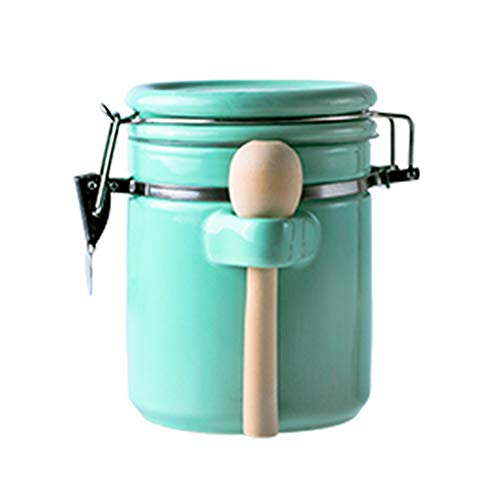 Porcelain Coffee Sealed Canister withValve Blocks Tea Cans Powder Candy Beans Jars Food Container Spice Storage Bottle with Lid Spoon Mint Green 35oz