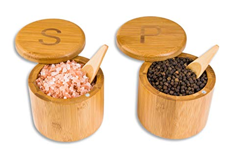 Scavyn Engraved Bamboo Salt and Pepper Box Set with Spoons Bamboo Storage Boxes with Magnetic Swivel Lids S and P Engraved on Lids Spice Box Salt Cellar Wood Salt Decorative Spice Storage