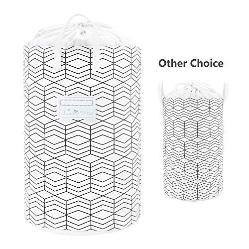 236 Large Foldable Laundry Basket Collapsible Clothes Hamper Drawstring Waterproof Laundry Hamper Round Cotton Linen Storage Baskets Home OrganizerBlack and White Grids