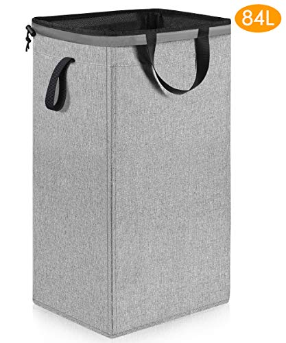 Large Dorm Laundry Hamper with Removable Liner 84L Sturdy Tall Laundry Hamper with Handles Collapsible Canvas Dirty Clothes Hamper Square Laundry Hamper for Bedroom Bathroom Nursery Grey