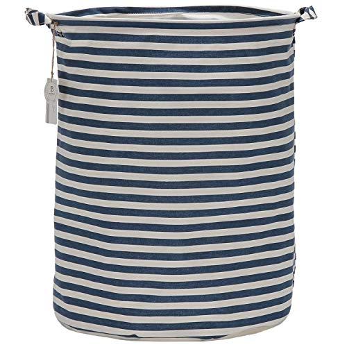 Sea Team 197 Inches Large Sized Waterproof Coating Ramie Cotton Fabric Folding Laundry Hamper Bucket Cylindric Burlap Canvas Storage Basket 197 Navy Blue White Stripe