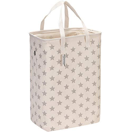 Sea Team 236 Large Size Canvas Fabric Laundry Hamper Collapsible Rectangular Storage Basket with Waterproof Coating Inner and Handles Grey Star