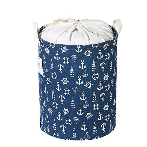 Zonyon Collapsible Laundry Hamper 157 Jumbo Large Dirty Clothes Laundry Storage Basket with Drawstring for KidsBoysGirlsToysClosetCollege DormBathroomBlue Anchor