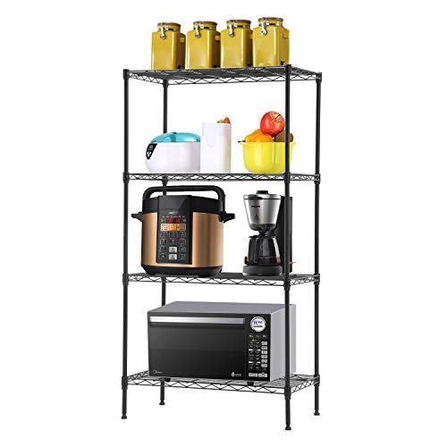 4-Tier WireShelvingUnit Steel Large Metal Shelf Organizer Garage Storage Shelves Heavy Duty NSF Commercial Grade Utility Storage Metal Layer Rack for Kitchen Office Garage 14D x 24W x 47HBlack