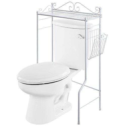Space Saver Design Metal Storage Organizer RackFreestanding Bathroom Shelf wMagazine Basket White