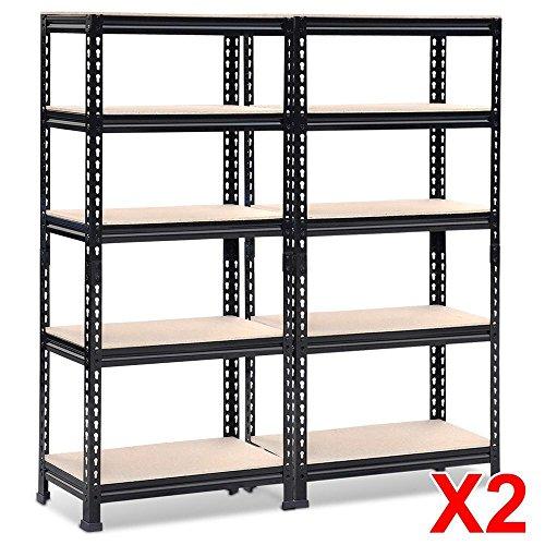 Topeakmart 2X591 Height Black Metal Storage ShelvesBoltless Adjustable Shelving Units for GarageKitchenOffice330 lb Per Shelf