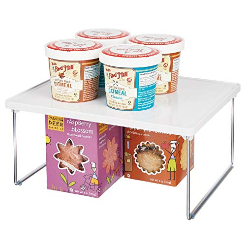 mDesign Decorative PlasticMetal Storage Shelf - 2 Tier Raised Food and Kitchen Organizer for Cabinets Pantry Shelves Countertops Stackable and Folds Flat - WhiteChrome