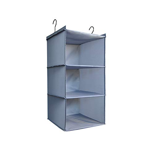 IsHealthy Hanging Closet Organizer Easy Mount Foldable 3-Shelf Hanging Closet Wardrobe Storage Shelves Clothes Handbag Shoes Accessories Storage Washable Oxford Cloth Fabric Gray