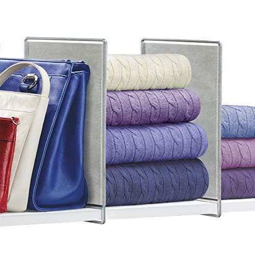 Lynk Vela Shelf Dividers - Closet Shelf Organizer Set of 2 - Platinum
