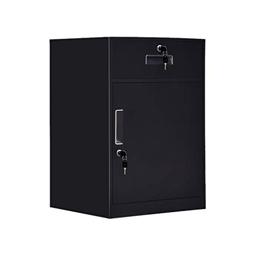 File cabinets Low Cabinet Metal Storage Cabinet Data Storage Cabinet File Drawer Cabinet with Lock Small Cabinet FANJIANI Color  Black Size  09mm
