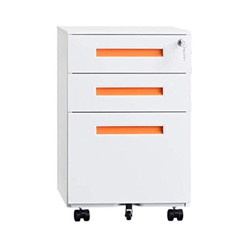 Mobile File Cabinet with Lock 3 Drawer Metal Storage Cabinet Active File Cabinet Color  Orange