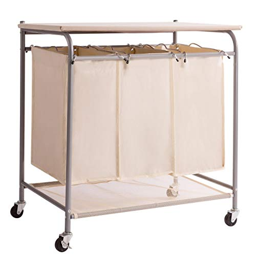 HollyHOME 3-Bag Heavy-Duty Rolling Laundry Sorter Laundry Cart with Ironing Board Laundry Room Organizer with Wheels Beige
