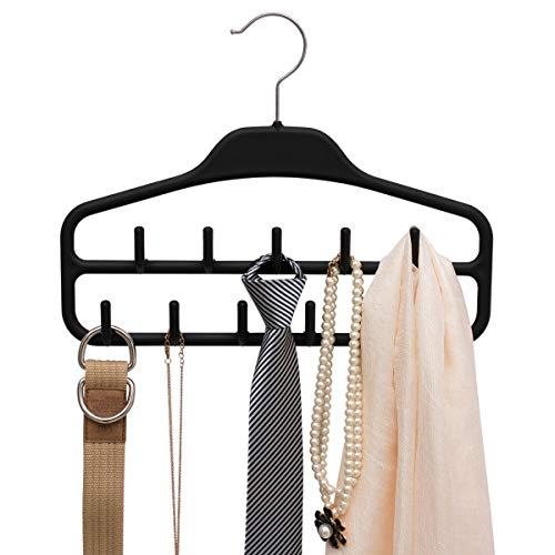 Belt Hanger Rack Holder Sturdy Belt Organizer with 360 Degree Swivel 11 Large Belt Hooks for Closet Non Slip Rubberized Belts Storage Black