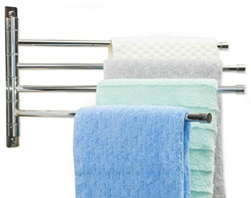 Swing Arm Towel Bar - Wall Mounted Stainless Steel Bathroom Towel Rack - Hanger Towel Holder Organizer - Perfect Towel Rack With 4 Arms - Polished Finish 10 X 17